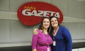 A repórter Beatriz Marcarini e a apresentadora Patrícia Vallim